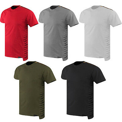 Mens RIPPED DISTREESD Elongated longline t-shirt ZIPPER ON THE SHOULDR