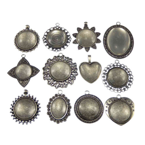 Assorted 10//12 Sets Glass Cover Cameo Alloy Setting Tray Charms Pendants Crafts