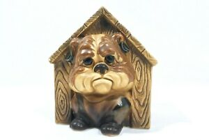 RARE Vintage Relpo Bulldog Dog House Ceramic Planter 2052 Japan Kitsch Cute