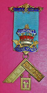 Masonic Past Master's Jewel Coronet Lodge No 7410 Birmingham silver hallmark