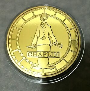Charlie-Chaplin-1889-1977-Coin-Medallion-24K-999-GOLD-FINISHED