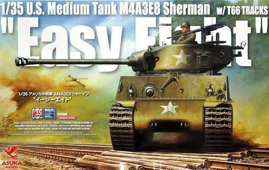 ASUKA MODEL 35-020 U.S. Medium Tank M4A3E8 Sherman  Easy Eight w T66 TRACKS 1 35