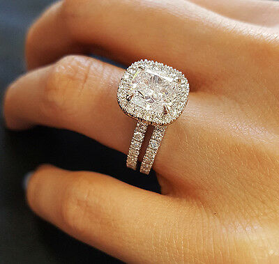 Authentic 2.75 Ct Cushion Cut Diamond Engagement Bridal Set H, VVS2 EGL 14k WG