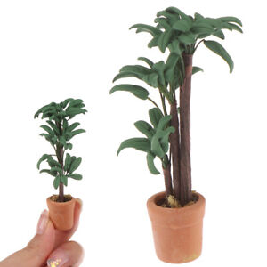 1-12-Dollhouse-Miniature-Pot-Green-Leafed-Plant-Garden-Decoration-mi