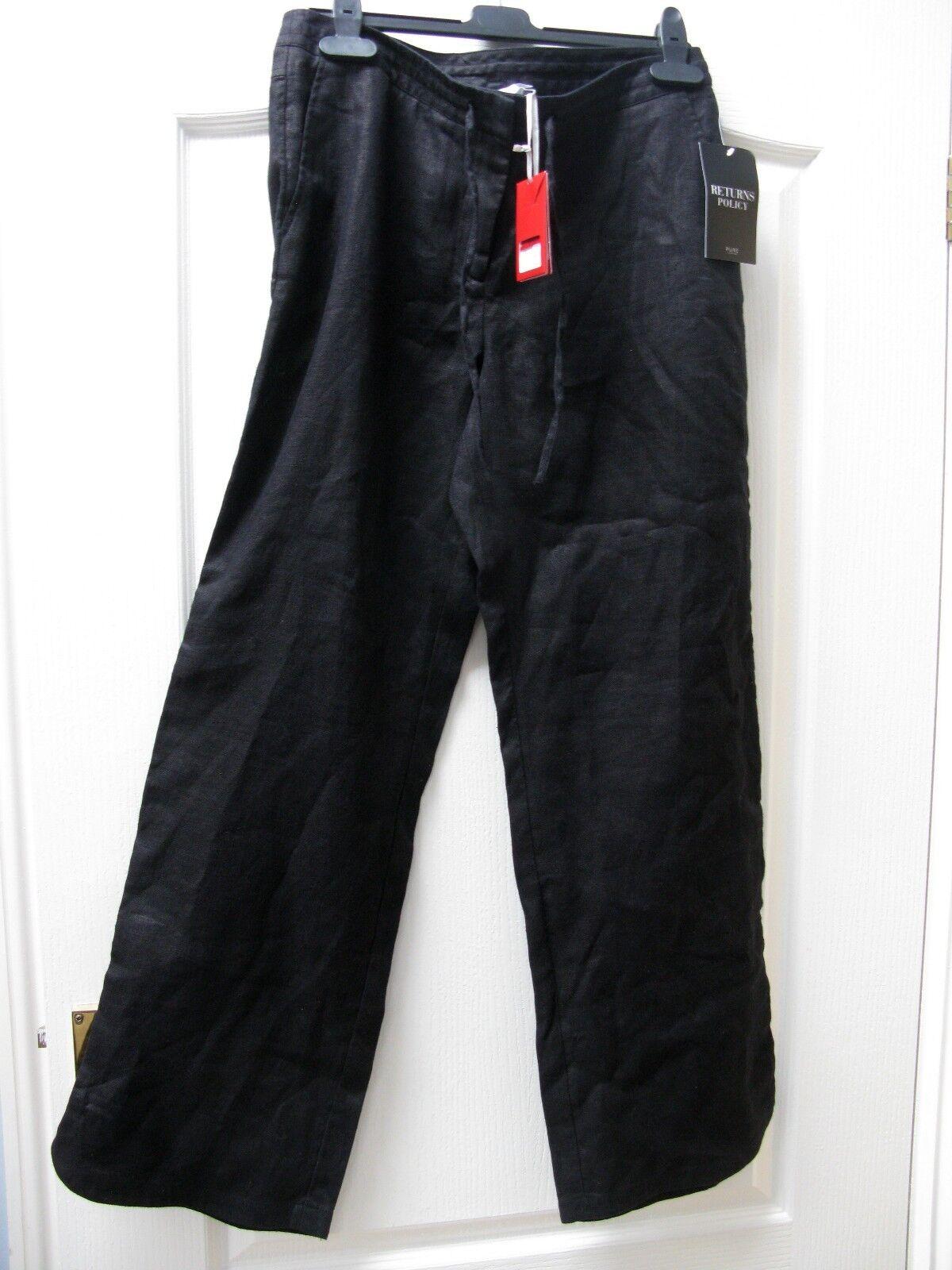 PURE COLLECTION BNWT schwarz Linen Trousers Größe 12