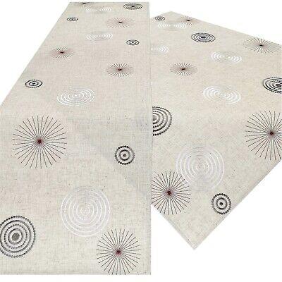 STICKEREI Tischdeckchen WINTER Tischdecke EULE Deckchen HERBST Leinen 40x90cm