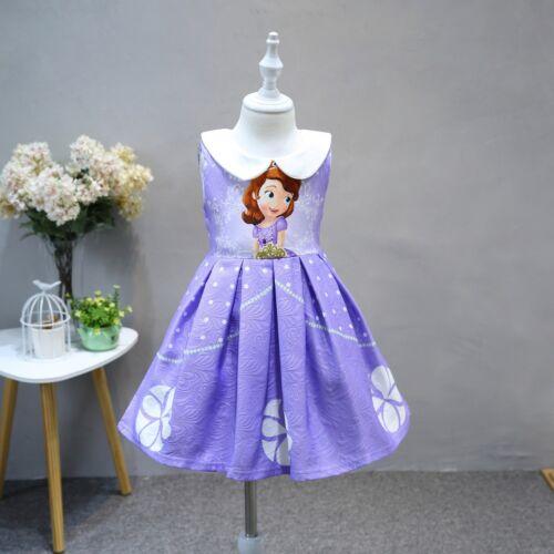 Sofia the First Princess Dress Frozen Elsa Anna Summer Party Dress Kids Clothes
