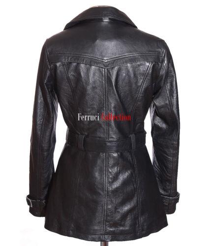 NUOVO Donna Nero Paris SMART Designer Pelle di Agnello Reale in Pelle Giacca Trench Cappotto