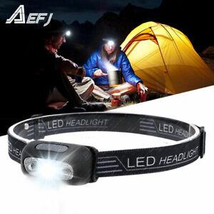 Mini Rechargeable LED Headlamp Body Motion Sensor Headlight Camping FlashlS WH