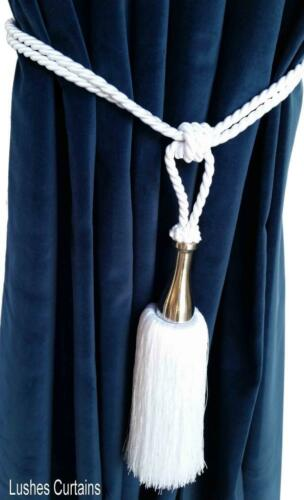 Large Handmade White Window Treatment Curtain Hardware Drape Tassel Rope Tieback