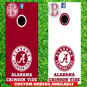 Alabama Crimson Tide Corn hole Set of 6 Vinyl Decal Stickers Cornhole toss game
