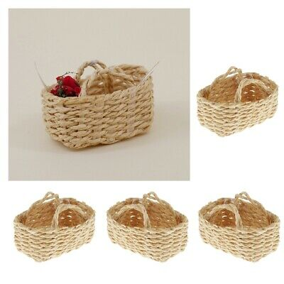 1//12 Dollhouse Miniature Handmade Bamboo Basket Model Decor Ornaments To QEBP AE
