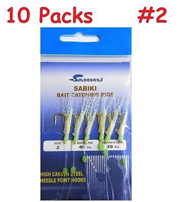 2 to 100 Packs Size #4 Sabiki Bait Rigs 6 Hooks  Saltwater Fishing Lures-467