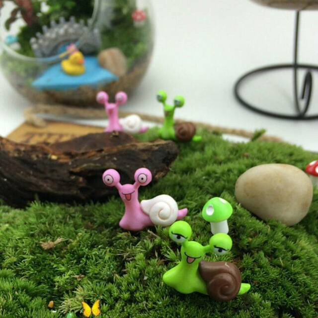 2PCS Cute Snail Micro Potted Landscape Figurine Decor Fairy Garden Dollhouse Toy