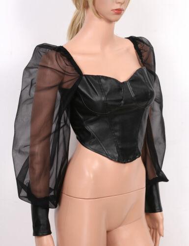 Womens Fashion Sheer Mesh Long Puff Sleeves PU Leather Slim Casual Blouse Shirt