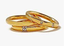 Banana Republic Tough Love Gold Crystal Stackable Ring Set 3 NWOT $85 Sz 8