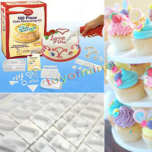 Cake Decorating Piping Letters : 100 Piece Cake Cupcake Decorating Kit - Icing, Baking ...