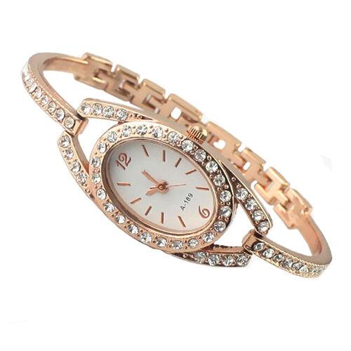 Women Fashion Minimalism Rhinestone Golden Stainless Steel Wrist Watch Hot