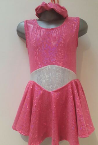 Girls New Pink Glitz Majorette Twirl Skirted Sleeveless Leotard
