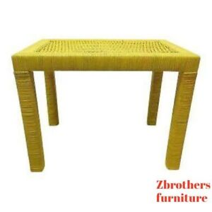 Vintage-Mid-Century-Drexel-Yellow-Pop-Wicker-Parsons-Lamp-End-Side-Table-Stand