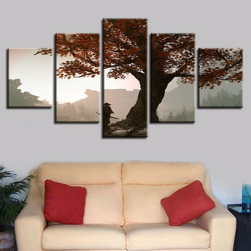 Samurai Lonely Big Tree 5 Panel Canvas Print Wall Art