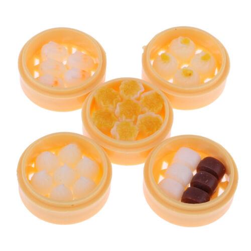 5 Set 1/12 Dollhouse Miniature Kitchen Food Set Steamed Dumplings Dessert #B