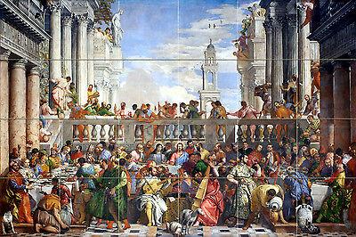 Art Paolo Veronese The Wedding Feast at Cana Ceramic Mural Decor Tile #2614