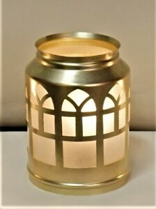 VINTAGE-MISSION-ARTS-amp-CRAFTS-BRASS-AND-FROST-GLASS-LAMP-SHADE-FOR-CHANDELIER