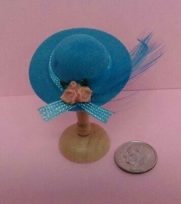 Dollhouse Miniature Blue Hat /& Wood Stand International Miniatures 1:12 scale