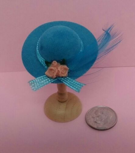 Dollhouse Miniature Blue Hat /& Wood Stand International Miniatures 1:12 scale