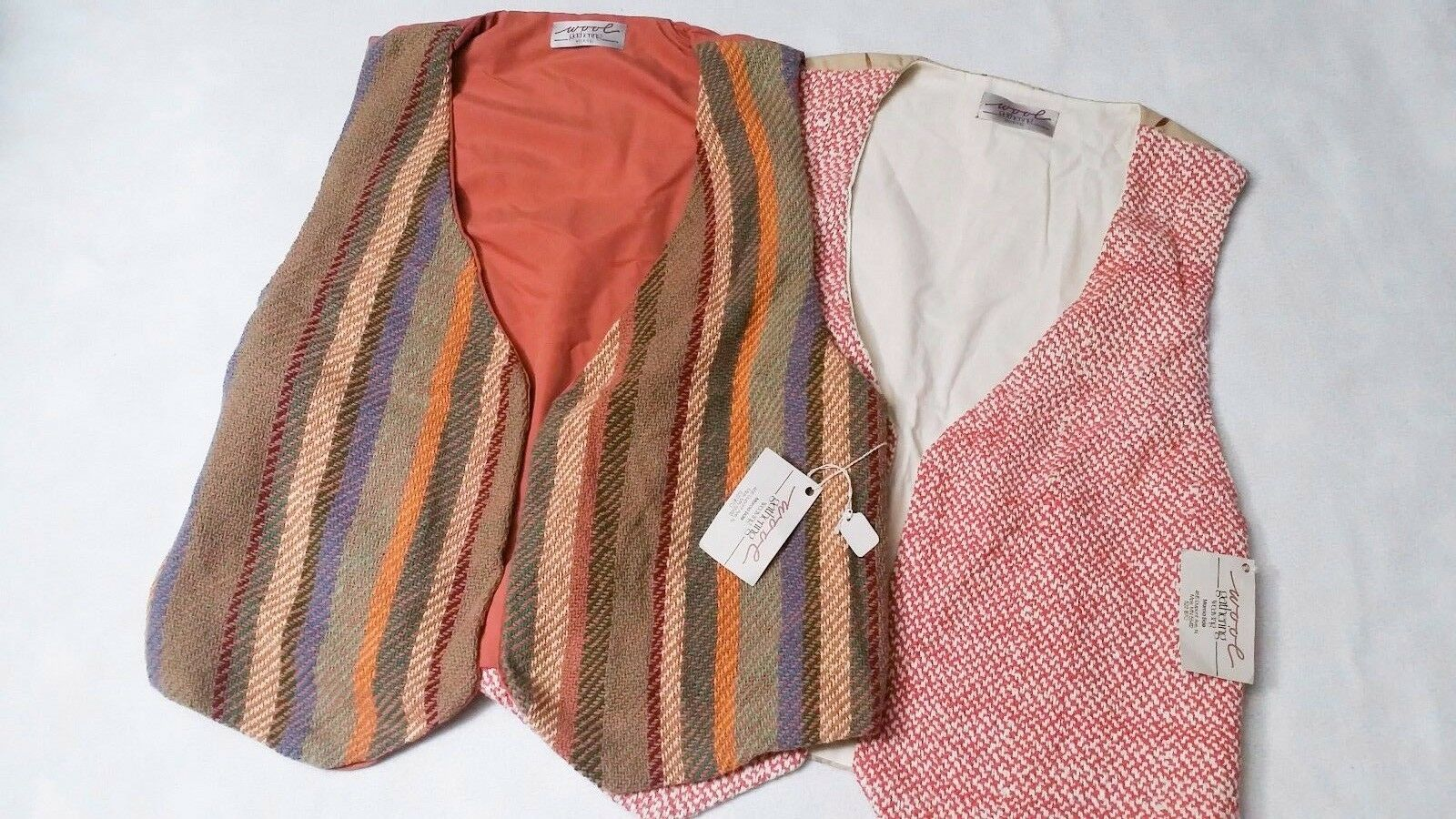 NWT Wool Gathering Weaving Women's Woven Woven Woven Vest 70's Style Vintage Red Striped L be2957