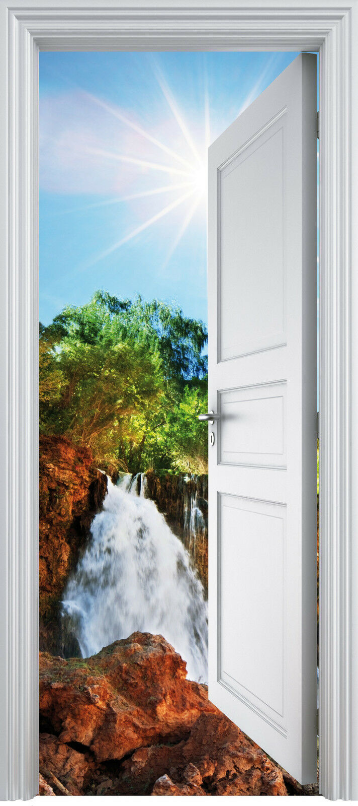 Adhesivo Puerta Trompa Trampantojo Cascada 90x200 cm Ref 317