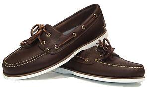 Nuevo-Para-hombres-Cuero-Marron-TIMBERLAND-Clasico-2-Ojo-Barco-Cubierta-Zapatos-UK-Tamanos