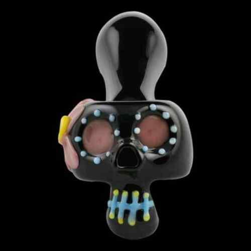Onyx Black Chameleon Glass Bone Head Dia De Muertos Glass Tobacco Pipe