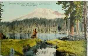 Divided-back-postcard-1907-1915-Mt-Tacoma-Reflection-Lake-Paradise-Pk-Wash-St