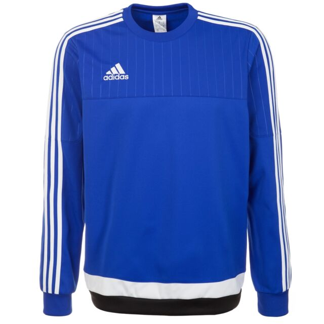 Adidas Men's Tiro 15 Crew Neck Long Sleeve Blue White Striped Sweatshirt Hoodie