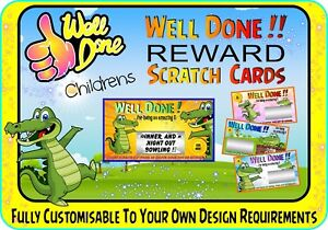 Fun Children's Reward Gratter Cadeau Personnalisé Scratchcards Cartes Carte-afficher Le Titre D'origine