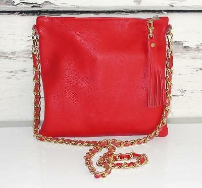 K.slademade~$189~PEBBLED LEATHER *GOLD METAL CHAIN* CROSS-BODY BAG/CLUTCH PURSE