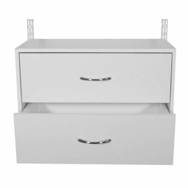 rubbermaid homefree closet system storage white wood 2 drawer unit organizer kit ebay. Black Bedroom Furniture Sets. Home Design Ideas