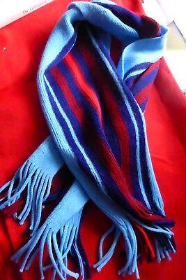 Ausdrucksvoll Schöner Schal In Blau- / Rottönen Gestreift Mit Fransen, 92 Cm Lang Mild And Mellow