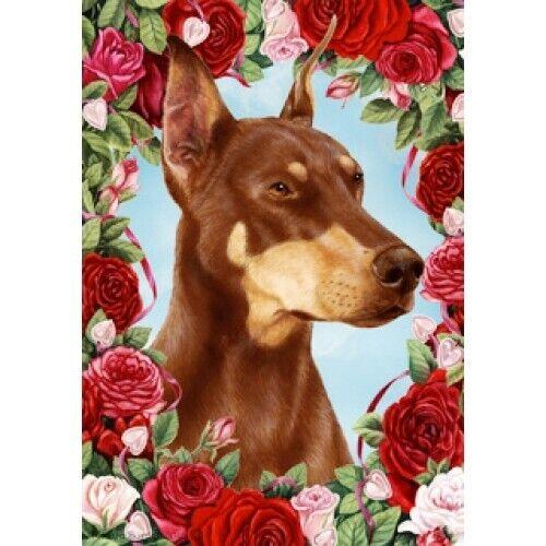 Roses Garden Flag Red Doberman Pinscher 190661
