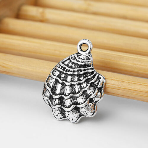 20x Tibetan Silver Alloy Sea Shell Charms Pendants Jewellery Necklace Findings
