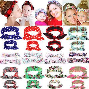 2X Mama Baby Damen Mädchen Kinder Stirnband Haarband Haarschmuck Kopfschmuck