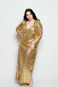 Details about PLUS SIZE V NECK LONG SLEEVE DOUBLE SLIT SOLID GOLD SEQUIN  LONG DRESS 1X 2X 3X