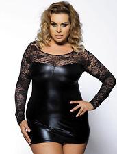 Plus Size Lingerie 3X Black Liquid Lame & Lace Mini Dress SEXY Fetish Clubwear