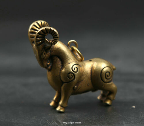 41MM Small Curio Chinese Bronze Zodiac Animal Sheep Goat Wealth Statue Pendant