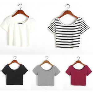 Fashion-Women-Sexy-Short-Sleeve-Crop-Tops-Yoga-Casual-Blouse-Vest-T-Shirt