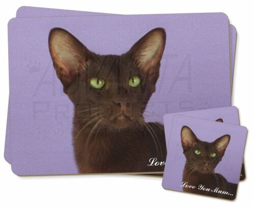 Havana Cat 'Love You Mum' Twin 2x Placemats+2x Coasters Set in Gift , AC97lymPC