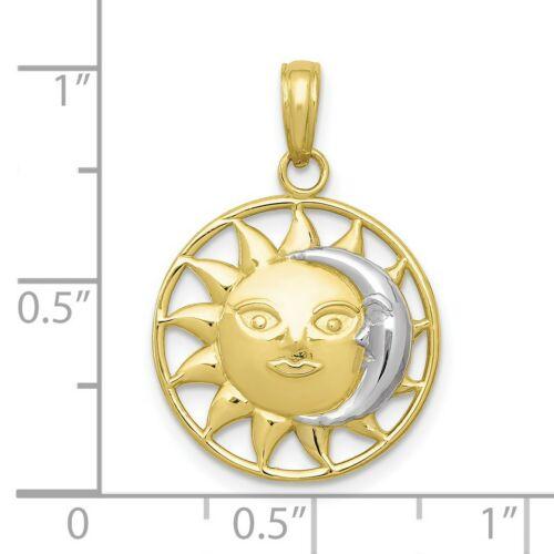 10k deux tons or jaune soleil et blanc Crescent Moon Pendentif 20 mm x 17 mm