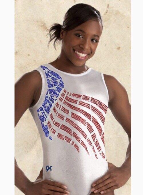 GK ELITE Gymnastics Leotard  LEGENDS Collection SEQUINZ Flag USA Amanda Borden AS  top brand